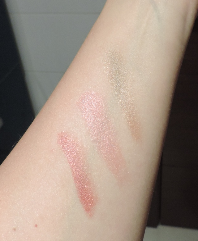 Swatched with Flash to show shimmer. L to r: Fundamental, Noble, Intrinsic.