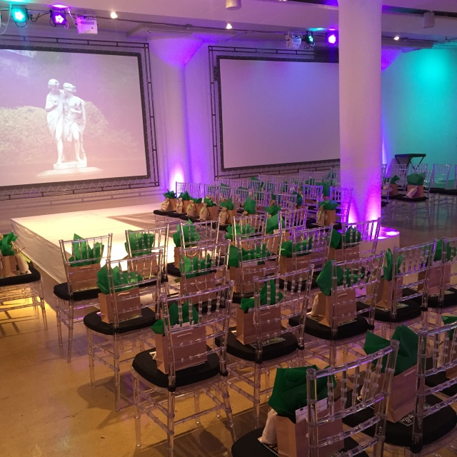 The stage is set for The Show: a mini-fashion show, featuring all-green makeup looks.